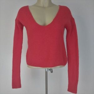 Free People Cropped Sweater Alpaca Orange Sz S